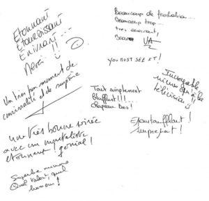 Commentaires suite à une soirée à Marseille pour la SAFIM - Espace Chanot
